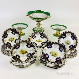 Twenty-three Pieces of Paris Hand-painted Porcelain Tableware