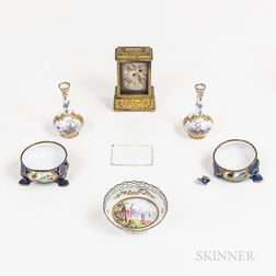 Five Pieces of Viennese Enameled Copper Tableware and a Carriage Clock