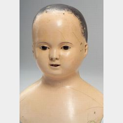 Large Early French-type Papier-mache Doll Head