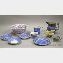 Eight Pieces of Spatterware and a Staffordshire Cream Pitcher