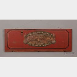 """Polychrome-painted Wooden """"J.I. Case Threshing Machine Co."""" Trade Sign"""
