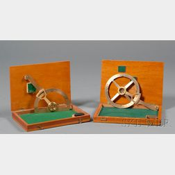 Two Brass Radial Arm Protractors by Lawes Rabjohns Ltd.