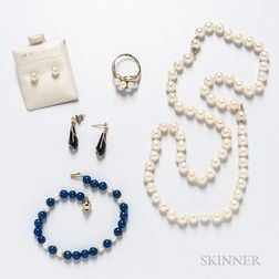 Group of Cultured Pearl and Gold Jewelry