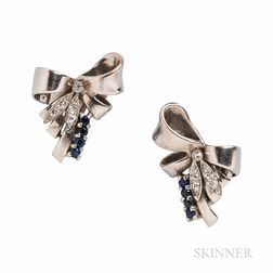 Retro 14kt White Gold, Sapphire, and Diamond Bow Earclips