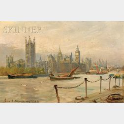 George H. Wimpenny  (British, 19/20th Century)      View of the River Thames and Westminster Abbey