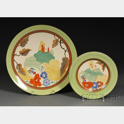 Clarice Cliff Bizarre Ware Alton Pattern Charger and Plate