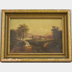 American School, 19th/20th Century      Country Landscape with Waterfall.