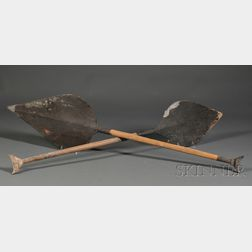 Two Amazon Carved Wood Paddles