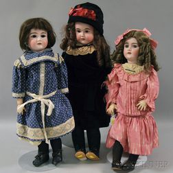 Three Large German Bisque Head Dolls