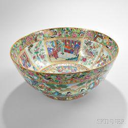 Large Chinese Export Rose Mandarin Punch Bowl