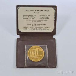 1968 Israeli 100 Lirot Jerusalem Unification Proof Gold Coin