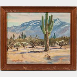 William Arthur Paxton (Canadian/American, 1873-1965)      Desert Scene with Saguaro Cactus