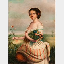 Dutch School, 19th Century      Young Girl with Flowers