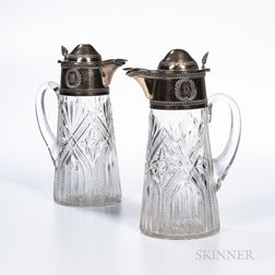 Pair of French Silver-gilt and Cut Glass Wine Ewers
