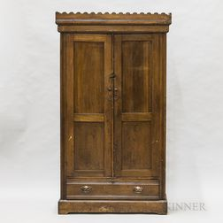 Country Stained Pine Paneled Cupboard