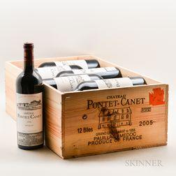 Chateau Pontet Canet 2005, 12 bottles (owc no lid)