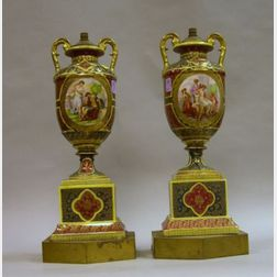 Pair of Royal Vienna-type Decorated Porcelain Urn Table Lamps.