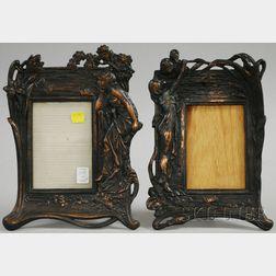 Two Art Nouveau-style Cast Metal Figural Picture Frames