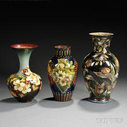 Three Doulton Lambeth Faience Vases