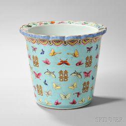 Large Famille Rose and Turquoise Planter