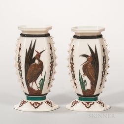 Pair of Royal Worcester Ivory-ground Porcelain Heron Vases