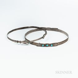 Two Navajo Silver and Turquoise Hatbands