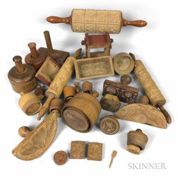 Group of Carved Wood Butter Molds and Stamps.     Estimate $400-600