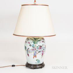Celadon Vase Mounted as a Lamp