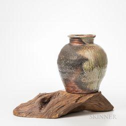 Shiho Kanzaki (Japanese, 1942-2018) Studio Pottery Tsubo on Wood Base