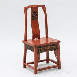 Chinese Carved and Red-lacquered Side Chair