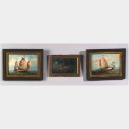 Chinese School, 19th Century  Lot of Three Small Portraits of Sea-Going Junks.