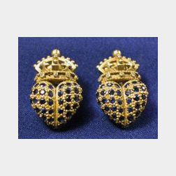18kt Gold, Sapphire and Diamond Earrings, B. Kieselstein-Cord