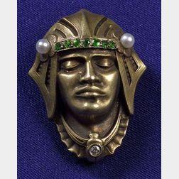 Art Deco Demantoid Garnet and Seed Pearl Watch Pin, Carter, Howe & Co.