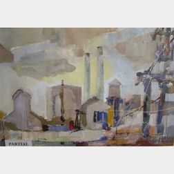 William Arthur Lewis (American, 20th Century)      Lot of Two Factory Views Including: Generator Plant, The Low Countries