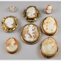 Six Shell-carved Cameo Brooches