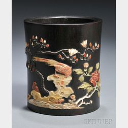 Inlaid Wood Brush Pot