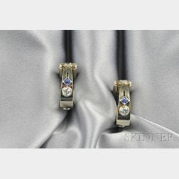 18kt White Gold, Sapphire, and Diamond Stirrup Cuff Links