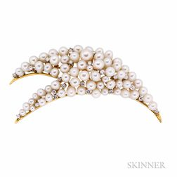 18kt Gold, Cultured Pearl, and Diamond Brooch, Henry Dunay