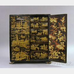 Japanese Gilt Enamel Decorated Black Lacquered Two-Door Cabinet