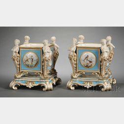 Pair of Minton Porcelain Thornwaldsen   Cache Pots on Stands