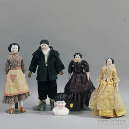 Four German China Head Dolls and a China Head