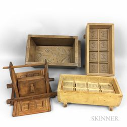 Four Large Wood Butter Molds
