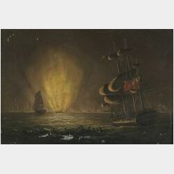 Anglo-American School, 19th Century  The Explosion of Napoleon's Ship L'Orient  , in the Battle of the Nile.