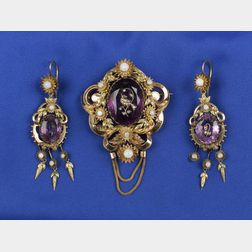 Suite of Victorian Amethyst and Gold Jewelry