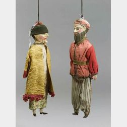 Two Continental Polychrome Wood Puppets