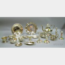 Group of Sterling Silver Table Items and a Three-piece Silver Plated Tea Set