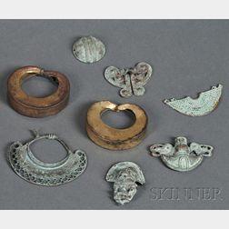 Eight Pre-Columbian Tumbaga Ornaments