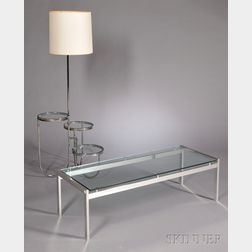 Floor Lamp and Coffee Table in the Style of Milo Baughman