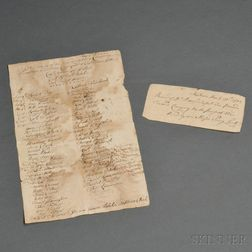 Wrentham Muster Roll, and Continental Tax Payment