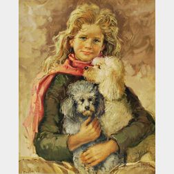 Giuseppe Merighi (Italian, b. 1936)       Girl with Poodles